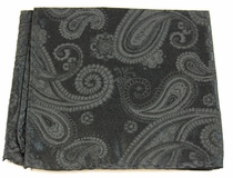 Black Paisley Pocket Square . 100% Silk (H815)