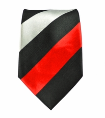 Black, Red and Silver Slim Silk Tie by Paul Malone