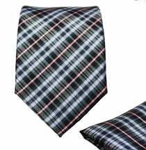 Slim Necktie and Pocket Square Set . Plaids