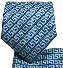 Blue and Black Men's Tie and Pocket Square