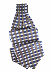 Blue and Brown Ascot Tie and Pocket Square