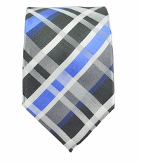 Blue and Charcoal Slim Silk Tie by Paul Malone