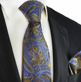 Blue and Gold Silk Tie and Pocket Square by Paul Malone