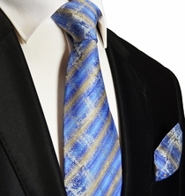 Blue and Gold Silk Tie and Pocket Square . Paul Malone