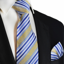 Blue and Gold Striped Silk Tie Set by Paul Malone