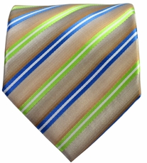 Blue and Green on Tan Striped Men's Necktie