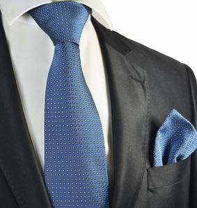 Blue and Green Polka Dot Tie and Pocket Square Set