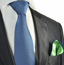 Blue and Green Polka Dot Tie with Contrast Rolled Pocket Square