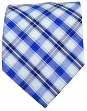 Blue and Navy Checkered Cotton Tie by Paul Malone