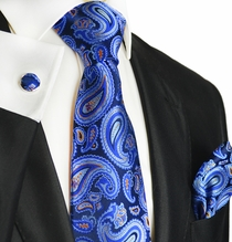 Blue and Orange Paisley Silk Tie Set by Paul Malone