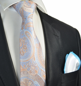 Blue and Orange Paisley Tie with Contrast Rolled Pocket Square