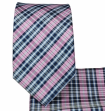 Blue and Pink Plaid Slim Necktie and Pocket Square