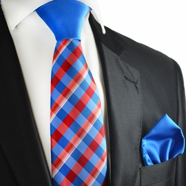 Blue and Red Contrast Knot Tie Set by Paul Malone