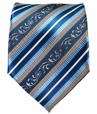 Blue and Silver Striped Men's Tie