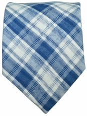 Blue and White Checkered Cotton Tie by Paul Malone