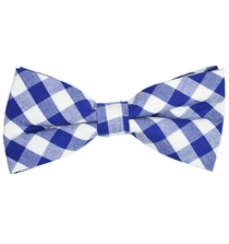 Blue and White Cotton Bow Tie by Paul Malone Red Line