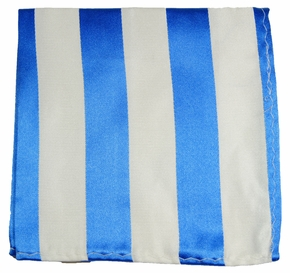 Blue and White Silk Pocket Square (H413)