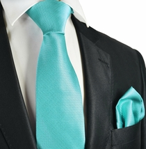 Blue Atoll Checked Necktie and Pocket Square