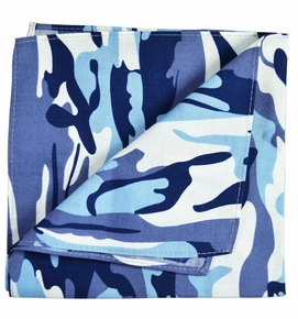 Blue Camouflage Cotton Pocket Square by Paul Malone