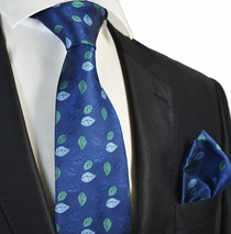 Blue Floral Tie and Pocket Square Set