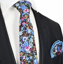 Blue Cotton Floral Tie Set by Paul Malone