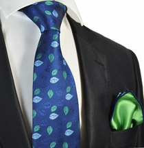 Blue Floral Tie with Green Pocket Square Set