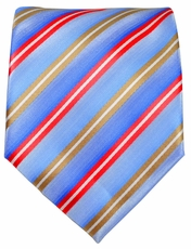 Blue, Gold and Red Striped Men's Tie