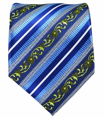 Blue, Green and White Striped Mens Necktie
