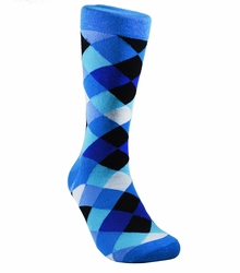 Blue Men's Cotton Dress Socks by Paul Malone