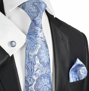 Blue Paisley Necktie and Pocket Square Set (566CH)