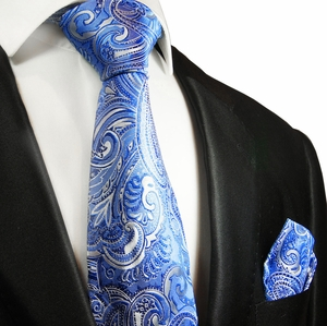 Blue Paisley Silk Tie and Pocket Square by Paul Malone