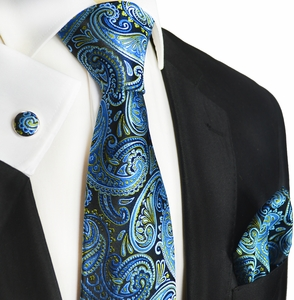 Blue Paisley Silk Tie, Cufflinks and Pocket Square by Paul Malone