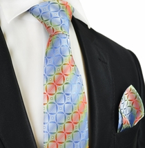 Blue Rainbow Silk Tie and Pocket Square by Paul Malone