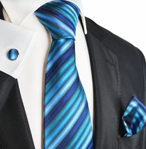 Blue Sapphire Striped Silk Tie Set by Paul Malone