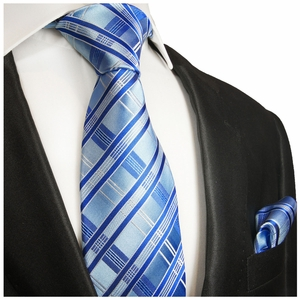 Blue Silk Necktie and Pocket Square , Paul Malone