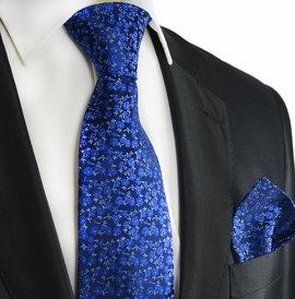 Blue Silk Tie and Pocket Square by Paul Malone