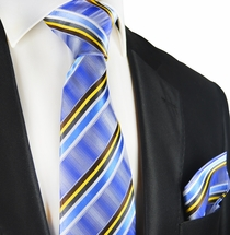 Blue Striped Silk Tie and Pocket Square Set by Paul Malone