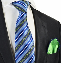 Blue Striped Tie and Contrast Green Rolled Pocket Square Set