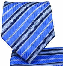 Blue Striped Tie and Pocket Square Set