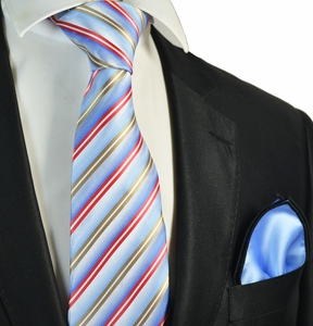 Blue Striped Tie and Rolled Pocket Square Set