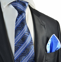 Blue Striped Tie with Rolled Contrast Pocket Square Set