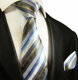 Blue, White and Tan Striped Silk Tie Set by Paul Malone