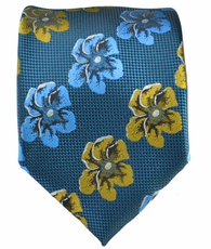 Blue with Curry Floral Men's Tie