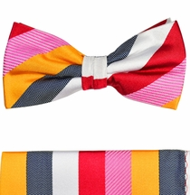 Bow Tie and Pocket Square Set by Paul Malone . 100% Silk (BT242H)
