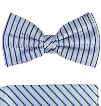 Bow Tie and Pocket Square Set by Paul Malone . Blue (BT429H)