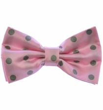 Bow Tie and Pocket Square Set . Pink and Grey Polka Dots (BT487-M)
