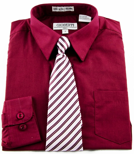 Boys shirt and tie combination burgundy bst104 for Dress shirts and tie combos sale