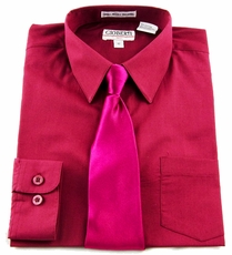 Boys Shirt and Tie Combination . Burgundy (BST204)