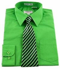 Boys shirt and Tie Combination . Green (BST111)