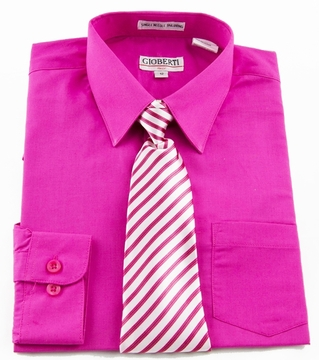 Boys shirt and tie combination hot pink bst105 for Dress shirts and tie combos sale